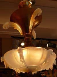 Lustre en verre pressé opalescent années 30 / 40