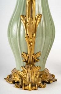 Paire d'aiguières modèle Sormani, porcelaine de Céladon, XIXème siècle