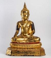 Statue fondue en bronze à cire perdue laqué et doré