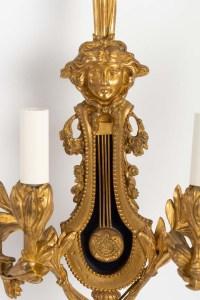 Grande paire d'appliques Louis XVI en bronze doré