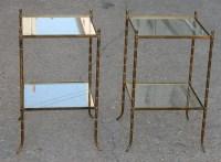 1950/70' Paire de Bouts de Canapés Bronze Décor Bambou , Style Maison Bagués 40 X 40 cm