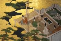 """Paravent japonais du """"Dit du Genji"""" Epoque Edo 17/18ème siècle."""
