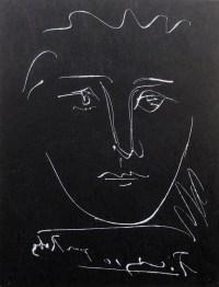 PICASSO Pablo ( d'après ) visage pour Roby Gravure en noir signée