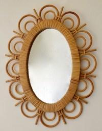 1950 Rattan Mirror  Louis Sognot