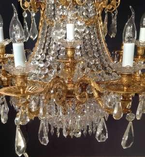 Lustre style Restauration en bronze doré et cristal 19ème siècle