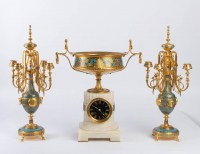 Garniture en bronze cloisonné et émaillé 19e Napoléon III