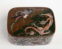 Box Enamels Cloisonné On Copper Decor Dragon And Phoenix, Japan, 1880