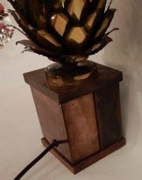 1970′ Lampe Ananas En Laiton Et Fer Oxydé Maison Jansen H 50 Cm