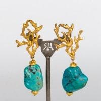Boucles d'oreilles bronze en forme d'algues et pierres bleues