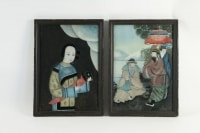 Pair of 19th Century Asian painting under glass