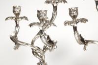 Paire de candélabres en bronze argenté - Fin XIXè - par le bronzier E. Hazart