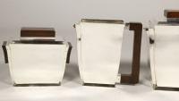BLOCH-ESCHWEGE ORFEVRE - THÉ/CAFÉ 4 PIÈCES EN ARGENT ET MACASSAR EPOQUE 1930