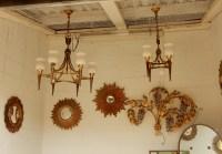 1950' Lustre Bronze et Laiton Avec Flèche Style Arbus ou Maison Jansen 4 Lampes
