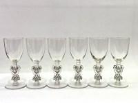 """Suite de Six 6 Verres à Liqueur """"Strasbourg"""" verre blanc patiné gris de René LALIQUE 11.5cm"""