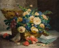 Eugène Henri Cauchois (1850 - 1911) : Panier de fleurs.