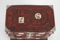Rare Japanese Cabinet in Carved Red Lacquer