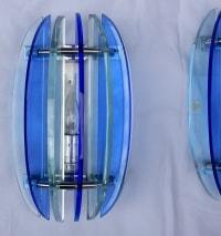 1950/70' Paire d'appliques bleues style Fontana Arte