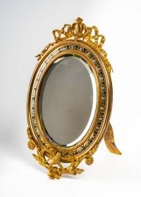Joli petit Miroir de table en bronze doré et cloisonné