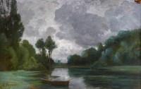 FANART Antonin Peinture Française XIXè Siècle Bord De Rivière Huile Sur Carton Signée