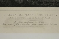 Lithograph engraving of House de Tasso Torquato