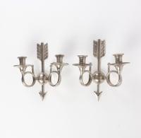 Paire d'appliques en bronze argenté à 2 lumières 20e siècle
