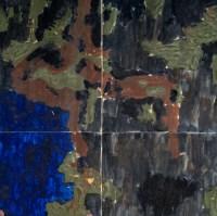 Grand panneau mural en faïence peinte de grand feu. Vers 1950-70