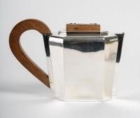 Service à Thé Et à Café à Pans Coupés Argent Massif Et Noyer de 1937 Jean E. PUIFORCAT