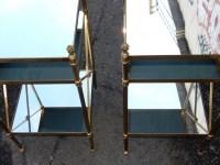 1950/70' Paire d'Etagères en Laiton à 3 Niveaux Maison Bagués Plateaux Miroirs  32 X 32 cm