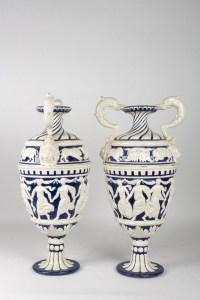 Vases Amphores italiens fin XIXème en faïences
