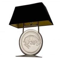 """René lalique : Lampe de cheminée """"Bélier"""""""