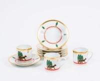 """Cartier 6 Tasses à Café Porcelaine polychrome """"Panthère"""""""