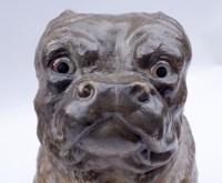 Paire de chiens bouledogue en céramique polychrome, travail anglais, XIXème siècle