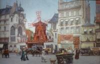Leon ZEYTLINE Ecole Russe 20è siècle Vue de Paris Le moulin rouge Huile sur toile signée