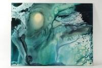 Peinture abstraite contemporaine, datée de 1982, signature non déchiffrée, oeuvre sur isorel.