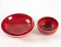Fance Franck et Francine Del Pierre - 2 coupes en porcelaine à glaçure rouge frais