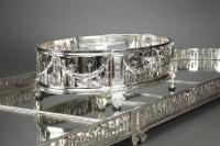 Orfèvre QUEILLE – Surtout de table et sa Jardinière en argent massif XIXè