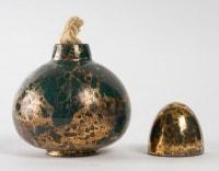 Brûle parfum en porcelaine dorée et verte, art déco, 1930