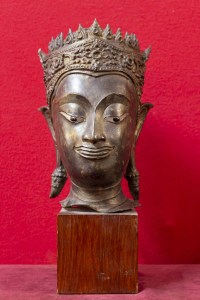 Tête de Bouddha bronze Sian Royaume d'Ayuthya 18e siècle