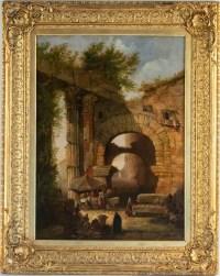 Le Marché aux poissons, Porteo d'Octavia, Rome XIXème siècle.
