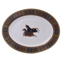 """Hermès, plat ovale en porcelaine - Collection """"Cheval d'Orient"""""""
