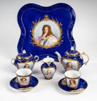 Service de thé en porcelaine bleu de Sèvres XIXème siècle