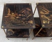 1950′ Paire de Tables Maison Baguès Décor Palmier en Bronze Doré Avec Plateaux Laque de Chine 36 X 36 X H 54 CM