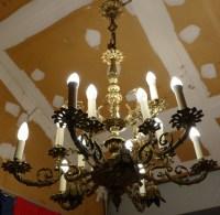 Lustre Italien 19ème siècle bronze doré 15 lumières