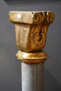 Paire de colonnes en bois polychrome 19e siècle