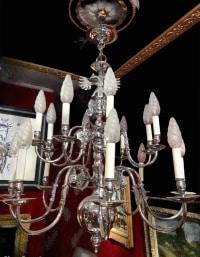 Lustre Hollandais en métal chromé à 16 bras de lumière sur deux niveaux