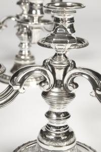Paire de candélabres - XXè - par l'orfèvre Puiforcat