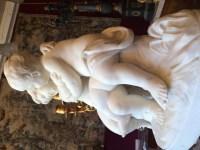 D'humeur Boudeuse!- La Boudeuse, groupe en marbre de Carrare signé Augutste Moreau (1834-1917).