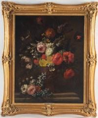 Bouquet De Fleurs Sur Un Entablement.J-B Bosschaert XVIII Siècle