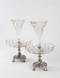 Paire de braquetières en métal argenté Art Nouveau 1910