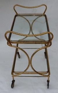 1970′ Bar Roulant en Bronze et Laiton Doré Maison Baguès Décor Art Nouveau